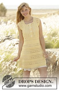 "Goldfinch - Gehaakte DROPS jurk van ""Cotton Merino"". Maat: S - XXXL. - Free pattern by DROPS Design"