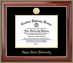 Upper Iowa University Diploma Frame - Gold Medallion - Mahogany Gold Trim