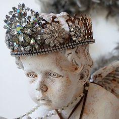 Ornate cherub statue elegant dark vintage by AnitaSperoDesign