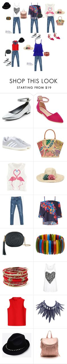 """""""Untitled #126"""" by mariela-hayoon on Polyvore featuring New Look, adidas, Tory Burch, Tanya Taylor, Gucci, Amrita Singh, Courrèges, Giorgio Armani and Valentino"""