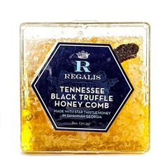 Tennessee Black Truffle Honey Comb Fully edible honeycomb of Savannah, Georgia star thistle honey, infused with fresh black truffles from Tennessee.