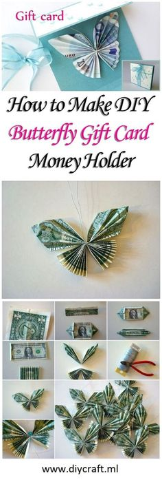 Machen Sie DIY Butterfly Gift Card Money Holder - - Best Picture For DIY Gifts creative For Your Taste You are looking for something, and it is going to tell you exac Money Lei, Money Origami, Butterfly Gifts, Butterfly Cards, Butterfly Mask, Homemade Gifts, Diy Gifts, Money Flowers, Folding Money