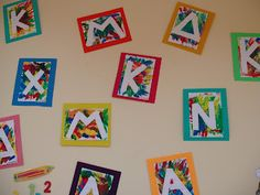 Beautiful display of the first letter of our names! use masking tape and peel off. Kindergarten Names, Preschool Names, All About Me Preschool, Preschool Literacy, Preschool Letters, Alphabet Activities, Kindergarten Activities, Preschool Activities, Preschool Art Display