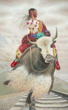 © Wang Yi Guang 10 Les couleurs et le travail de détails sur les costumes sont exceptionnels. Tout est  surréaliste rempli de douceur, les jeunes filles qui volent dans l'air ayant un lien particulier avec les animaux sauvages, les yaks et de moutons appelant le spectateur à entrer dans un monde de conte de fées de  paix et de  rêverie tranquille