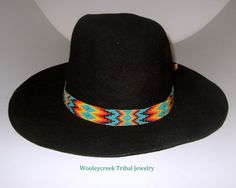 Beaded Hat Band Native American Loom Woven Creek Design By Order ONLY | Wooleycreek - Accessories on ArtFire