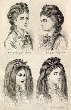 Complex mid Victorian hairdressing using a special comb Vintage Hairstyles Tutorial, Retro Hairstyles, Straight Hairstyles, 1800s Hairstyles, 1870s Fashion, Victorian Fashion, Victorian Era, Historical Hairstyles, Pelo Vintage