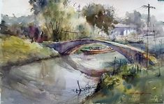 "Shuang Li ""Old Bridge in Afternoon Light"" Plein Air, watercolor on paper, 12""x18"" Painted on location at Luzhi, Southern China"