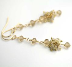 Slender Dangle Earrings in Sapphire, Champagne Citrine and Gold Fill