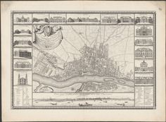 1772 map of the city of Warsaw, Poland, showing streets, gardens, public buildings, palaces and fields