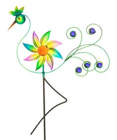 Peacock Wind Spinner Garden Stake