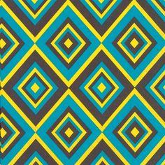 The Squadra Petrol modern designer paper napkins feature a geometric diamond chevron pattern of turquoise, yellow and dark grey lines.