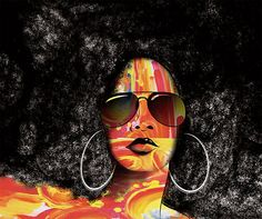 Night out - colorful geometric shapes, hoop earrings, aviators and an afro! Black Girl Art, Black Women Art, Art Girl, African American Art, African Art, American Women, Natural Hair Art, Natural Hair Styles, Natural Curls