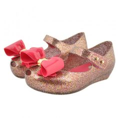 139f76db429e Girls stylish pink glitter shoes from the Mini Melissa SS17 Collection.  Featuring a peep hole