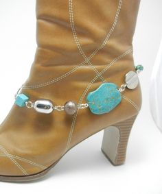 Turquoise and Silver Beaded Boot Bling - Jewelry Accent to your Boots - Boot Jewelry