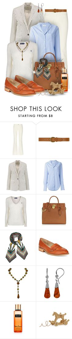 """""""Country Chic - Striped Blazer & Orange Penny Loafers (183)"""" by mischabel ❤ liked on Polyvore featuring M.i.h Jeans, Dorothy Perkins, rag & bone, Polo Ralph Lauren, Michael Kors, Tory Burch, Wanted, Goldmajor, Hermès and country"""
