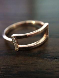 The Open Ring  Rectangular Shape  14K Pink Gold  by CutCarat