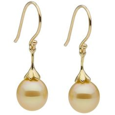 Golden South Sea Drop Pearl Earrings ($500) ❤ liked on Polyvore featuring jewelry, earrings, accessories, golden jewelry, 14 karat gold earrings, pearl jewellery, pearl earrings and 14k jewelry