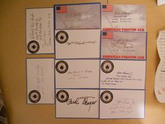 10 US  FIGHTER ACES LOT 2 -AUTOGRAPHS/SIGNED INDEX CARDS-