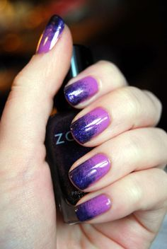 Purple Gradient with Zoya Nail Polish in Perrie and Julieanne shared via Facebook - https://www.facebook.com/photo.php?fbid=10151307144860351=o.92896153814=1