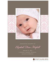 Damask Dream - Pink Girl Photo Birth Announcement