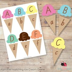 Karyssa, you could make this… Alphabet Matching Ice Cream Game Early Learning, Fun Learning, Preschool Activities, Preschool Centers, Fall Preschool, Preschool Worksheets, Letter Matching Game, Ice Cream Games, File Folder Games