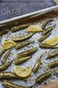 Lemon & Cracked Pepper Okra - Healthy Dinner / Lunch Recipes - — The Local Vegan™ Raw Food Recipes, Vegetable Recipes, Vegetarian Recipes, Cooking Recipes, Healthy Recipes, Lunch Recipes, Entree Recipes, Healthy Eats, Healthy Foods
