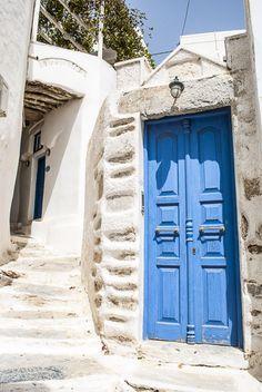 Blue door at the streets of Chora, Amorgos island