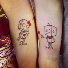 Robot Love couples tattoo Celebrate Everlasting Love With These 21 Remarkable Couples Tattoos