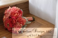 coral bouquets with wedding flowers of daisies, carnations, and roses, Dallas wedding flowers by AntebellumDesign.com