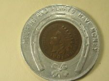 1901 Indian Head Cent Encased Penny Advertising Lindenthal & Goodman Clothes