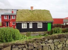 Sod roofs are common on the Faroe Islands, west of Norway. Traditionally the roof was covered with sod on top of several layers of birch bar...