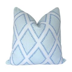 Custom Pillow Cover / Brookhaven by Sarah Richardson for Kravet in Chambray / Blue Diamond / Both Sides / Made to Order