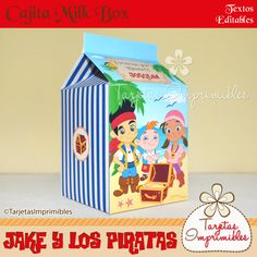Cajita Milk box Jake y los piratas azul