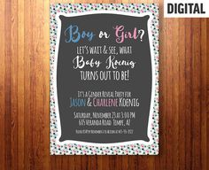 Gender Reveal Invite, Gender Reveal Party, Pink Blue Reveal, Baby Reveal, Gender Party, New Baby - Digital File - Fully Customizable - 5x7