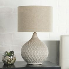Sleek and chic, this eye-catching lamp is the perfect accent for any space. Showcasing a textured design and neutral hue, this lovely luminary is brimming with sophisticated style. Bedside Table Lamps, Bedroom Lamps, Master Bedroom, Bedroom Decor, Girls Bedroom, Farmhouse Table Lamps, Contemporary Table Lamps, Modern Table, White Table Lamp