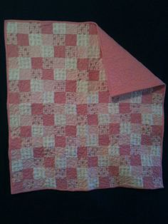 flannel pink and white baby quilt by lindakayscreations on Etsy, $45.00