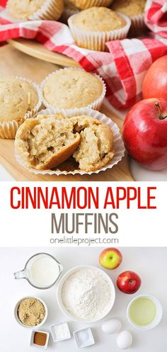 These delicious and tender cinnamon apple muffins are so easy to make, and bursting with fall flavors. They're the perfect way to start the day! Apple Cinnamon Muffins, Pumpkin Spice Muffins, Banana Chocolate Chip Muffins, Mini Muffins, Cinnamon Apples, Baking Flour, Sweet Breakfast, Muffin Tins, Dessert Recipes