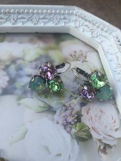 Swarovski crystal three cup dangle earrings by shellyannscrystals