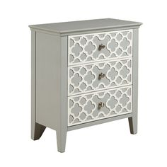 Grey and White Patterned Drawer Cabinet