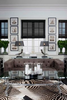 """Paint them: For indoors use, or outside. Bamboo curtains don't have to look so """"natural"""" if that's not your thing. Just check out the black bamboo curtains in this glam German living room, from Piazza Wohnkultur via Houzz."""
