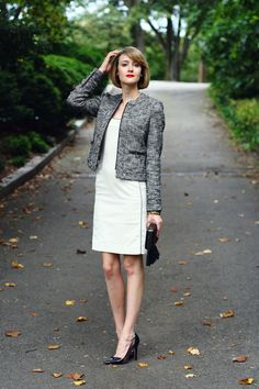 Discover this look wearing Black Boucle Zipper Banana Republic Blazers, White Bodycon ADAM Dresses tagged business chic, work - b/w by districtofchic styled for Classic, Cocktail in the Summer Fashion Over 50, Fashion 2018, Pink Fashion, Fashion Looks, Fashion Outfits, Womens Fashion, Fashion Styles, Daily Fashion, Fashion Fashion
