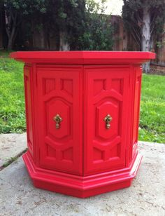 Vintage Petite Octagon Side Chest Table In Poppy By SECONDREVIVAL, $150.00