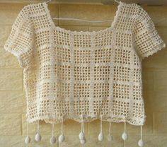 Boho Crochet Crop Top by on Etsy Boho Crochet, Pull Crochet, Crochet Shirt, Unique Crochet, Crochet Crop Top, Crochet Woman, Crochet Fashion, Beautiful Crochet, Crochet Bikini