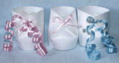 DIY - 3 different kinds of baby bootie cup favors for baby shower made from STYROFOAM CUPS