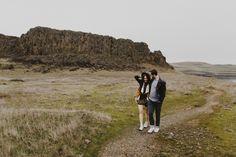 Cute couple walking through washington desert
