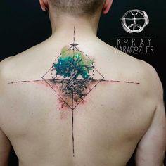 "3,189 Me gusta, 58 comentarios - KORAY • KARAGÖZLER (@koray_karagozler) en Instagram: ""#watercolor #abstract #geometric #tree #tattoo #watercolortattoo #abstracttattoo #geometrictattoo…"""