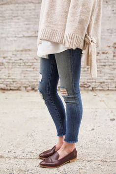 oversized sweater, white shirt, skinny jeans, loafers