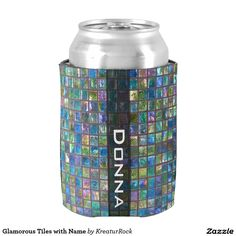 Glamorous Tiles with Name Can Cooler