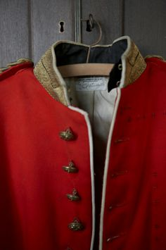 Detail of an old soldier's uniform found in an unused corridor in the family's private rooms at Knole, Kent.