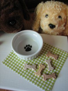 Dog Bowl and Treats - Pampered Pet Accessories for American Girl doll sized pets. Cute etsy store.